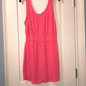 Hot pink scrunch waste dress from aritzia